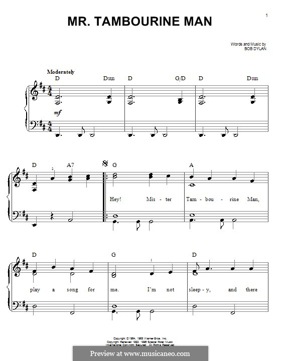 Mr. Tambourine Man: For piano (easy) by Bob Dylan