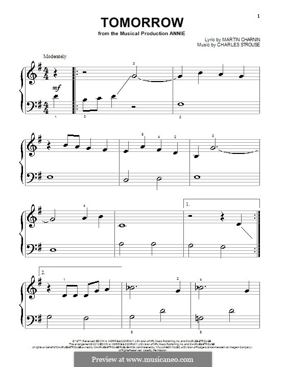 Tomorrow (from Annie): Para Piano by Charles Strouse