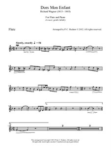 Dors, mon enfant (Sleep, My Child), WWV 53: para flauta e piano by Richard Wagner