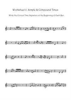 Adding Correct Time Signatures In Simple & Compound Time: Worksheet No.2 by Yvonne Johnson