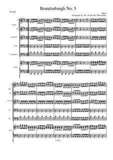 Brandenburg Concerto No.5 in D Major, BWV 1050: For elementary to middle school age string youth orchestras – score with violin III part by Johann Sebastian Bach
