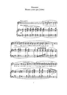Beaux yeux que j'aime: Partitura Piano-vocal by Jules Massenet