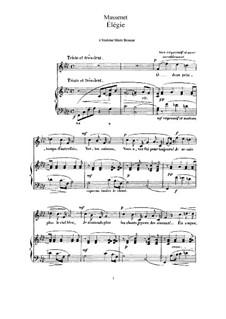 Dix pièces de genre, Op.10: No.5 Mélodie (Élégie), for high voice and piano by Jules Massenet