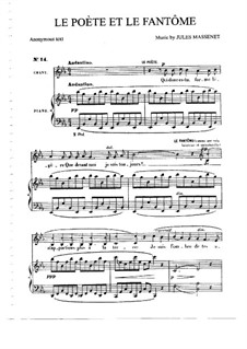 Le poète et le fantôme: para voz media e piano by Jules Massenet
