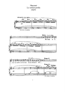 Le sentier perdu: para voz alta e piano by Jules Massenet