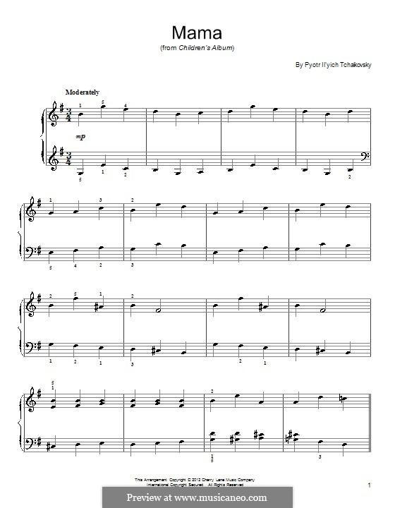 No.4 Mama: Para Piano by Pyotr Tchaikovsky