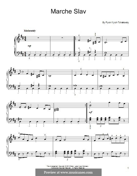 Slavonic March, TH 45 Op.31: arranjos para piano (Fragmento) by Pyotr Tchaikovsky