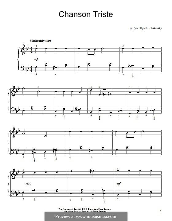 Twelve Pieces , TH 138 Op.40: No.2 Chanson triste by Pyotr Tchaikovsky