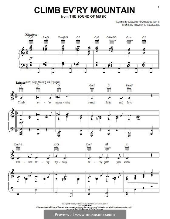 Climb Ev'ry Mountain: Para vocais e piano (ou Guitarra) by Richard Rodgers