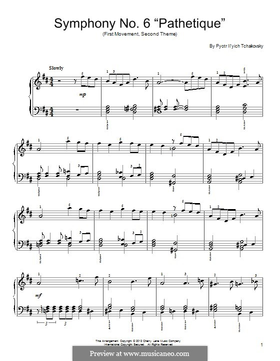 Movement II: Second theme. Version for piano by Pyotr Tchaikovsky