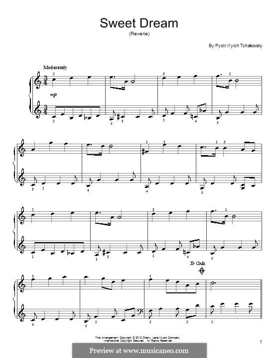 No.21 Sweet Dream: Para Piano by Pyotr Tchaikovsky