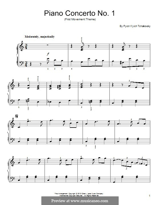 Concerto for Piano and Orchestra No.1 in B Flat Minor, TH 55 Op.23: Movement I (Excerpt). Version for piano by Pyotr Tchaikovsky