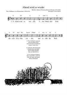 Abendlied: Leadsheet by Christian Heinrich Rinck