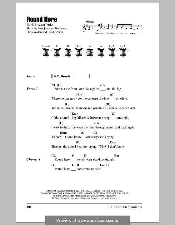 Round Here (Counting Crows): Letras e Acordes by Adam F. Duritz, Chris Roldan, Dan Jewett, Dave Janusko, David Bryson
