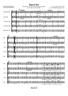 Act III, No.15 Hunter's Choir: For four (or five) saxophones by Carl Maria von Weber