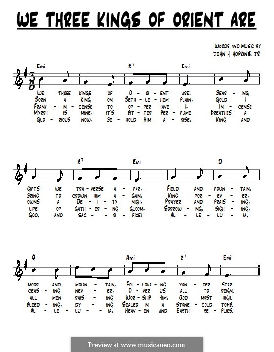 We Three Kings of Orient are (Printable Scores): Letras e Acordes by John H. Hopkins Jr.