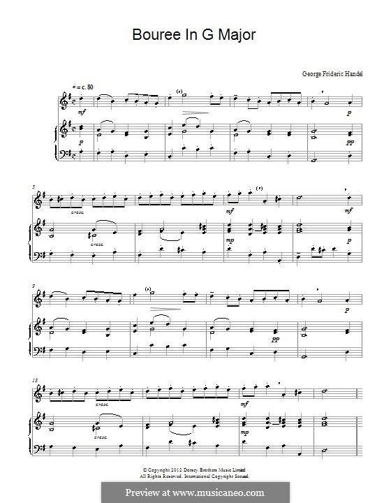 Bourrée in G Major: para flauta by Georg Friedrich Händel