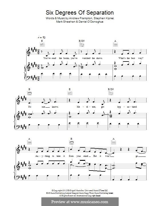 Six Degrees of Separation (The Script): Para vocais e piano (ou Guitarra) by Andrew Frampton, Danny O'Donoghue, Mark Sheehan, Stephen Alan Kipner