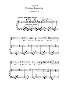 Sérénade d'automne: para voz alta e piano by Jules Massenet
