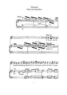 Sous les branches: para voz alta e piano by Jules Massenet