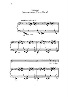 Souvenez-vous, Vierge Marie: para voz alta e piano by Jules Massenet