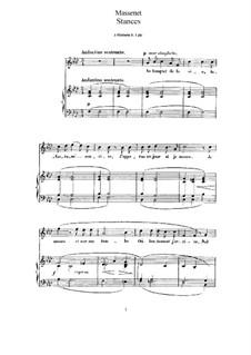 Stances: para voz alta e piano by Jules Massenet