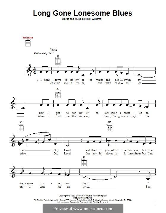 Long Gone Lonesome Blues: para ukulele by Hank Williams
