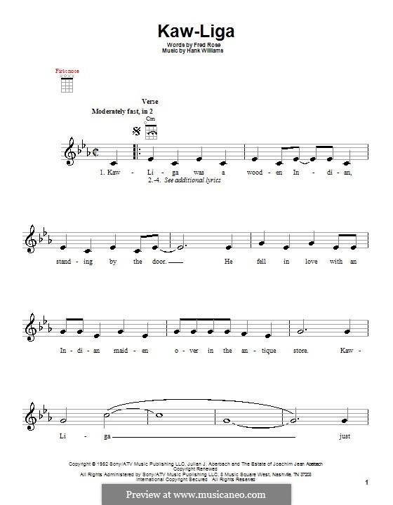 Kaw-Liga: para ukulele by Hank Williams