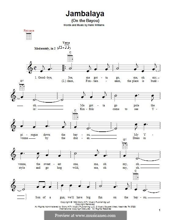 Jambalaya (On the Bayou): para ukulele by Hank Williams