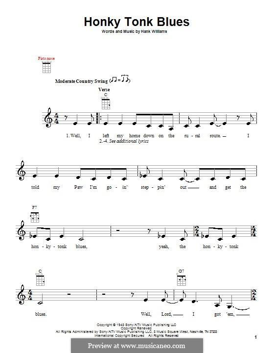 Honky Tonk Blues: para ukulele by Hank Williams
