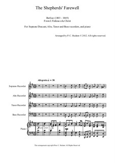 L'enfance du Christ (The Childhood of Christ), H.130 Op.25: The Shepherds' Farewell, for four recorders and piano by Hector Berlioz