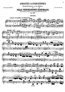 Andante and Variations, Op.83a: For piano four hands – piano I part by Felix Mendelssohn-Bartholdy