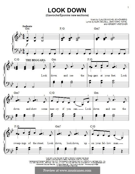 Look Down: Para Piano by Claude-Michel Schönberg
