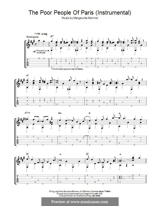 The Poor People of Paris (Jean's Song): Para guitarra com guia by Marguerite Monnot, Rene Rouzaud