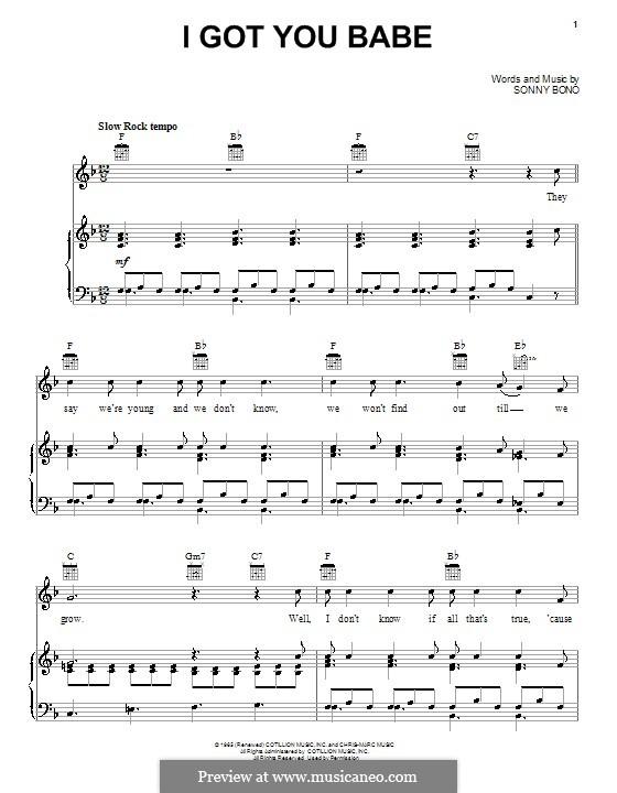 I Got You Babe (Sonny & Cher): Para vocais e piano (ou Guitarra) by Sonny Bono
