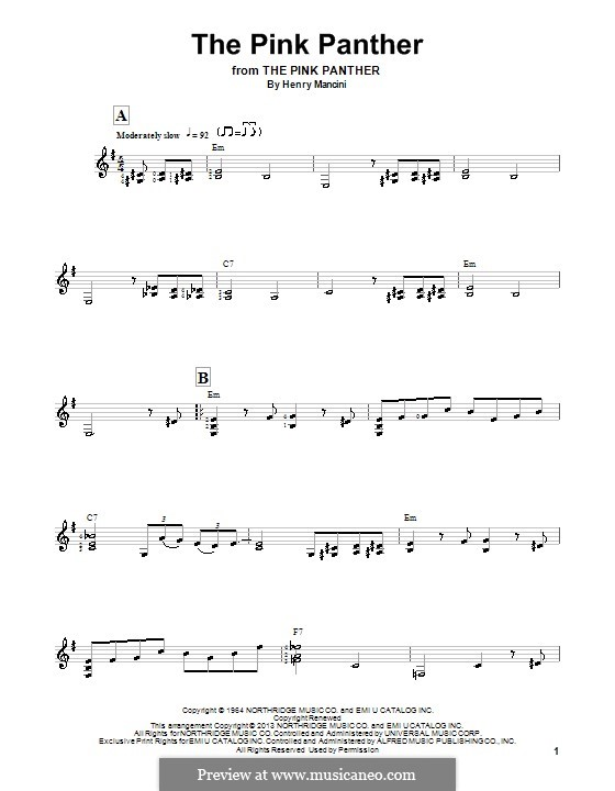 The Pink Panther: Para guitarra com guia by Henry Mancini