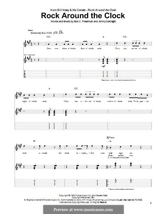 Rock Around the Clock (Bill Haley and His Comets): Para guitarra com guia by Jimmy DeKnight, Max C. Freedman