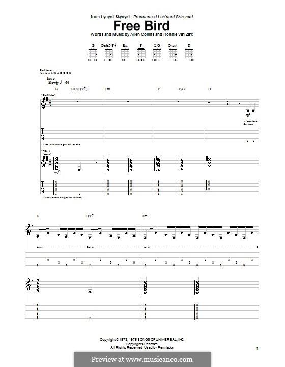 Free Bird (Lynyrd Skynyrd): Para guitarra com guia by Allen Collins, Ronnie Van Zant