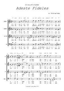 O Come All Ye Faithful: For SSAB chorus by John Francis Wade