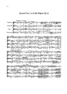 String Quartet No.1 in E Flat Major, Op.12: Partitura completa by Felix Mendelssohn-Bartholdy