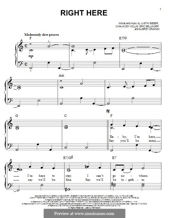 Right Here: Para Piano by Aubrey Drake Graham, Eric Bellinger, Justin Bieber, Chauncey Hollis