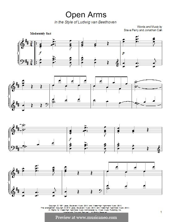 Open Arms (Journey): Para Piano by Jonathan Cain, Steve Perry
