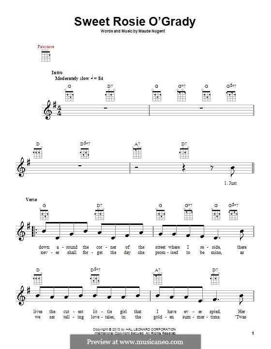 Sweet Rosie O'Grady: para ukulele by Maude Nugent