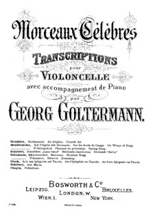 Six Songs, Op.34: No.2 Auf flügeln des gesanges (On Wings of Song), for cello and piano by Felix Mendelssohn-Bartholdy