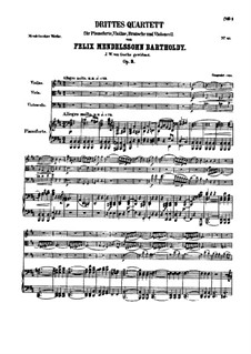 Piano Quartet No.3 in B Minor, Op.3: Partitura completa by Felix Mendelssohn-Bartholdy