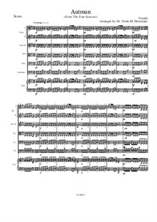 Violin Concerto No.3 in F Major 'L'autunno', RV 293: Movement I, for school string orchestra – score by Antonio Vivaldi