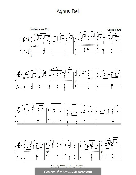 Requiem in D Minor, Op.48: Movement V 'Agnus Dei', for piano by Gabriel Fauré