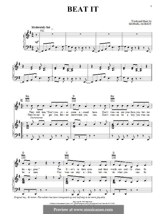 Beat It: Para vocais e piano (ou Guitarra) by Michael Jackson