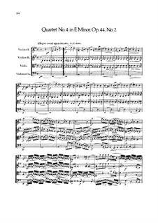 String Quartet No.4 in E Minor, Op.44 No.2: Partitura completa by Felix Mendelssohn-Bartholdy