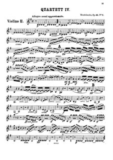String Quartet No.4 in E Minor, Op.44 No.2: violino parte II by Felix Mendelssohn-Bartholdy